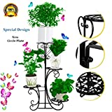 hebensi 4 Pot Metal Plant Stand Decorative Planter Holder With 4 Tier Shelves Flower Pots Stander For Indoor and Outdoor