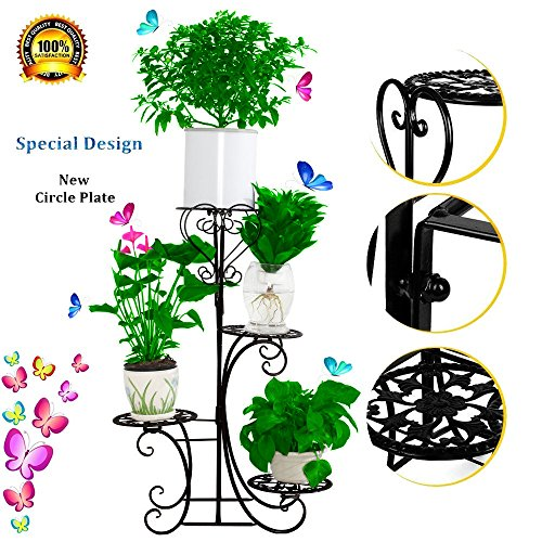 hebensi 4 Pot Metal Plant Stand Decorative Planter Holder With 4 Tier Shelves Flower Pots Stander For Indoor and Outdoor by hebensi