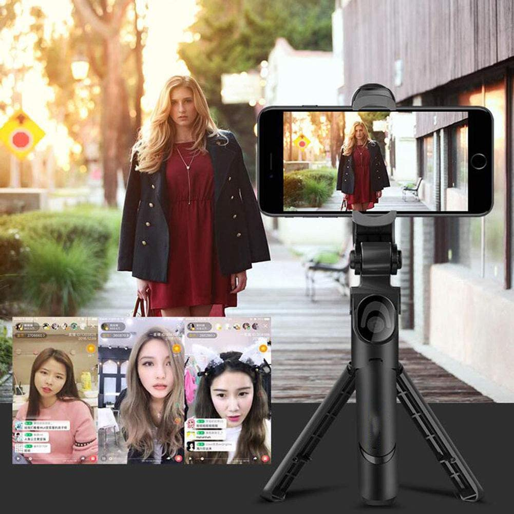 LSYOA Extendable Selfie Stick Tripod Stand Bluetooth Wireless Remote Perfect Compatible with Most Smart Phone in Market,Black