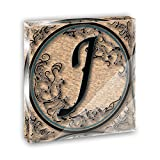 Vintage Letter J Initial Black Tan Acrylic Office Mini Desk Plaque Ornament Paperweight
