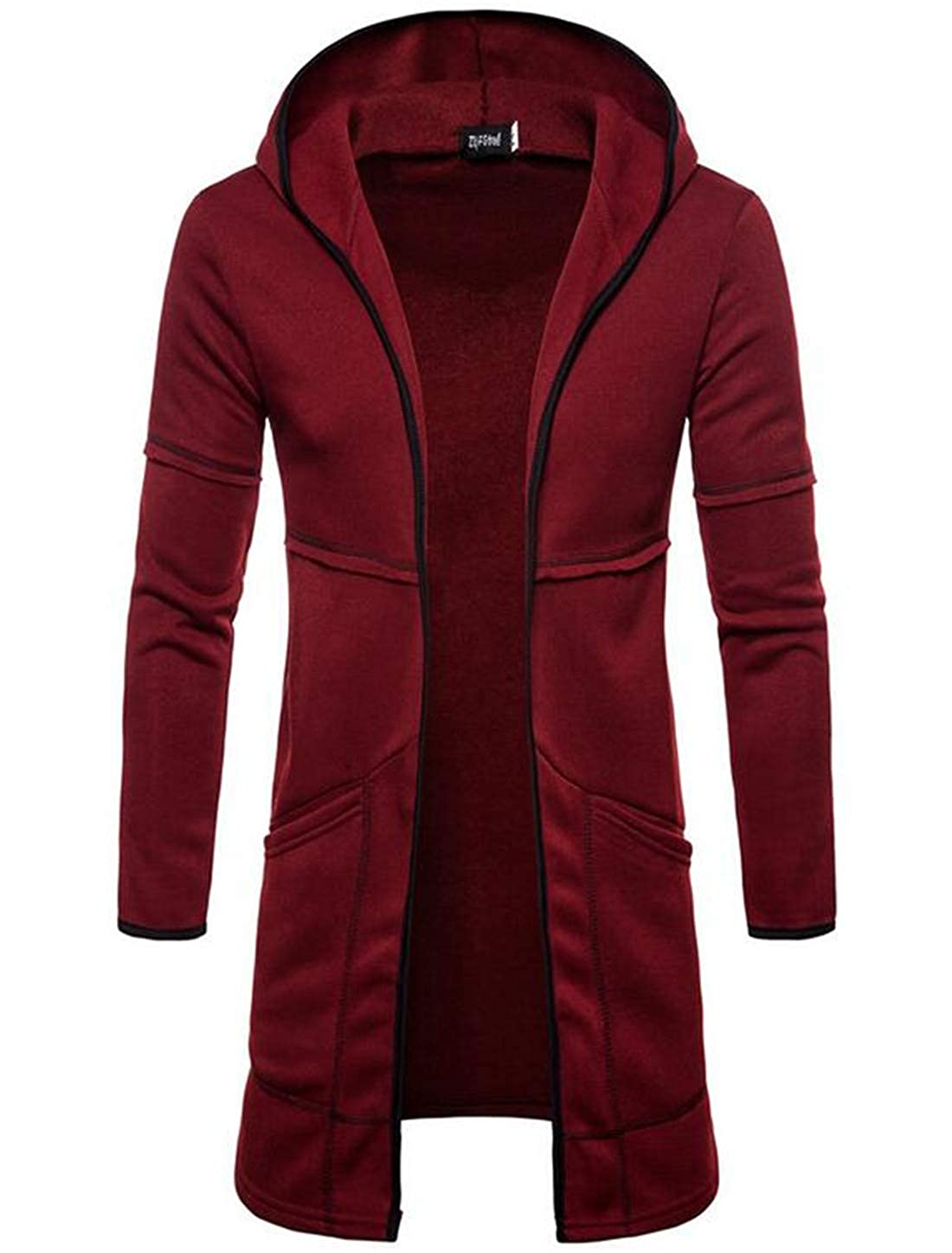 Valoda Men Casual Open Frint Solid Hooded Long Sleeve Cardigan Blouse Sweater