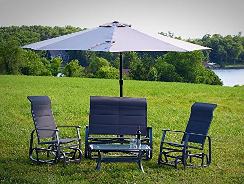 Pebble Lane Living 4pc Patio Glider Conversation Seating Furniture Set with Offset Umbrella – Grey Review