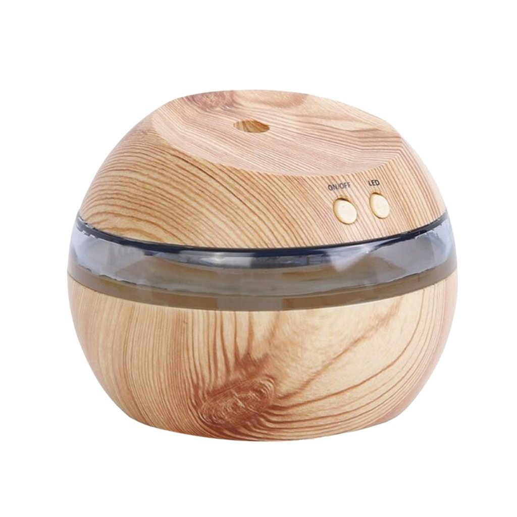 MonkeyJack USB Essential Oil Diffuser, 300ml Aroma Essential Oil Cool Mist Humidifier for Home Office Baby Bedroom - Natural Wood, 10x8.5cm