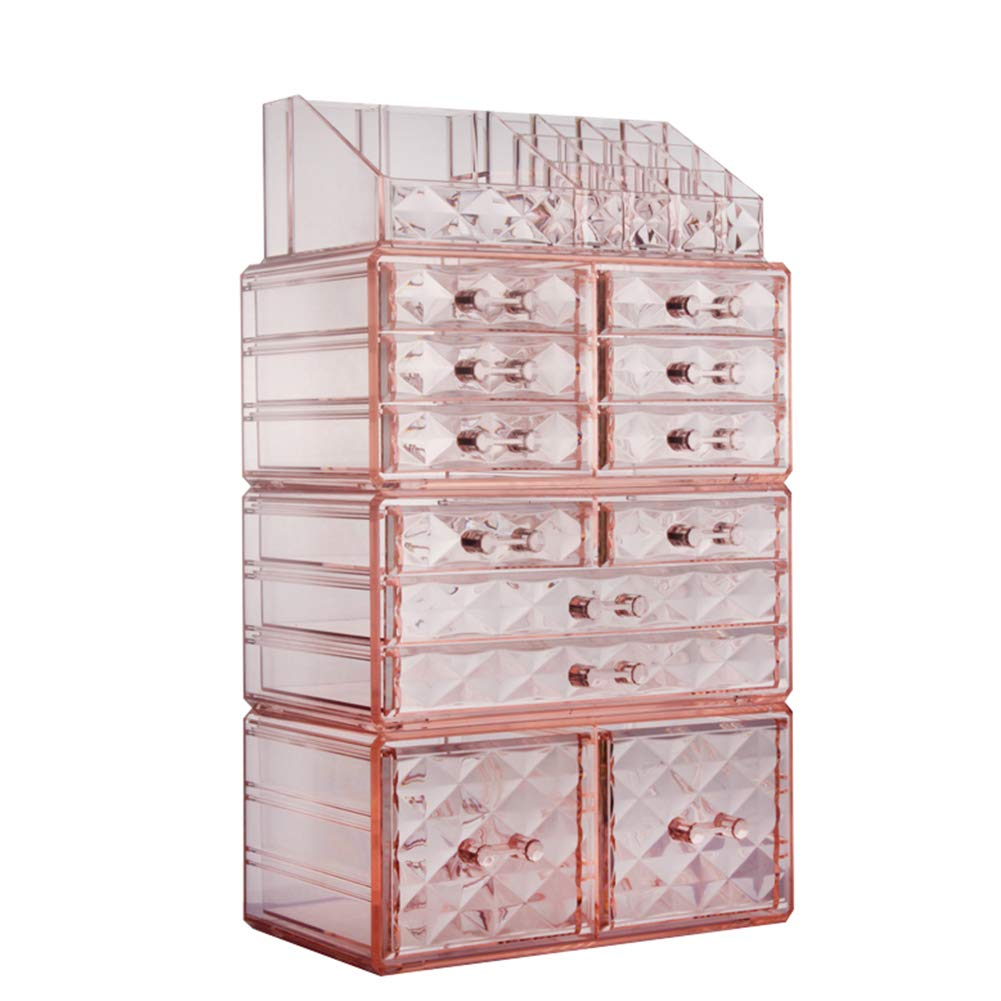 ZHIAI Cosmetic Jewelry Organizer Makeup Holder - Acrylic Interlocking Drawers to Create Your Own Specially Designed Makeup Counter, Stackable and Interchangeable (1 Top 12 Drawers, Pink)