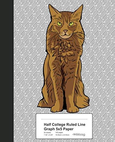 Half College Ruled Line Graph 5x5 Paper: Book Somali Cat (Weezag College Ruled Graph 5x5 Notebook)