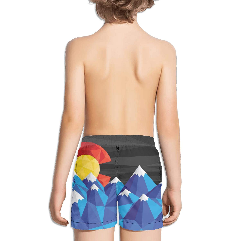 FullBo Colorado State Flag Poster Little Boys Short Swim Trunks Quick Dry Beach Shorts