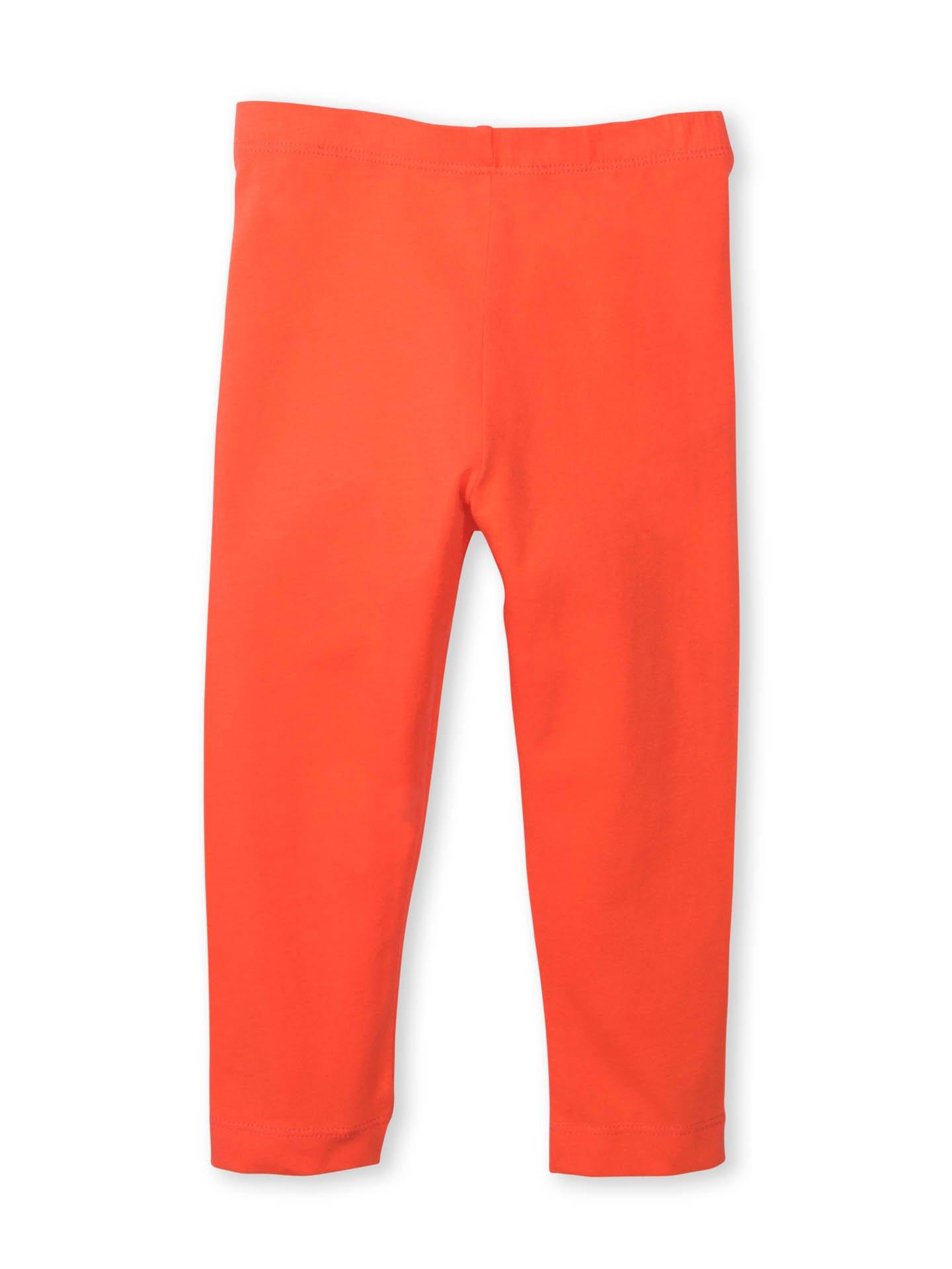 Colored Organics Girls Organic Cotton Cropped Legging Capris - Hot Coral - 4T