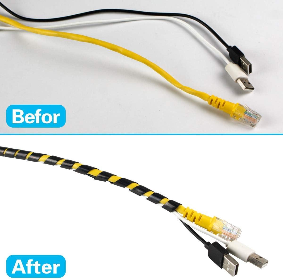 Schwarz 12mm Durchmesser und 7,5m L/änge Flexibler Spiralschlauch Kabelorganisation GTIWUNG Kabelschlauch Kabelspirale Spiralband Kabelschutz