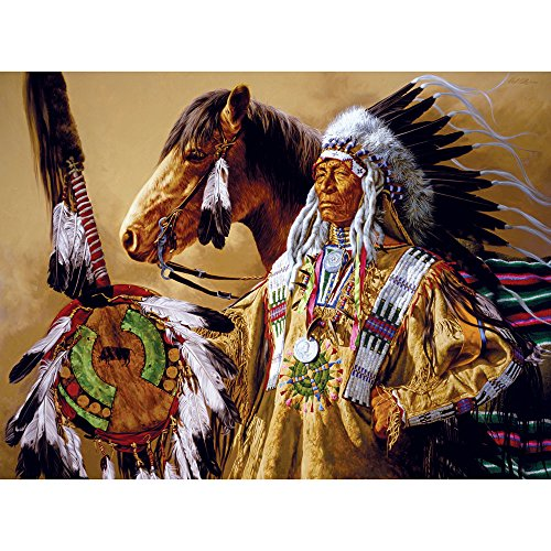Bits and Pieces - 1000 Piece Jigsaw Puzzle for Adults - Chief High Pipe - 1000 pc Horse Native American Jigsaw by Artist Paul Calle