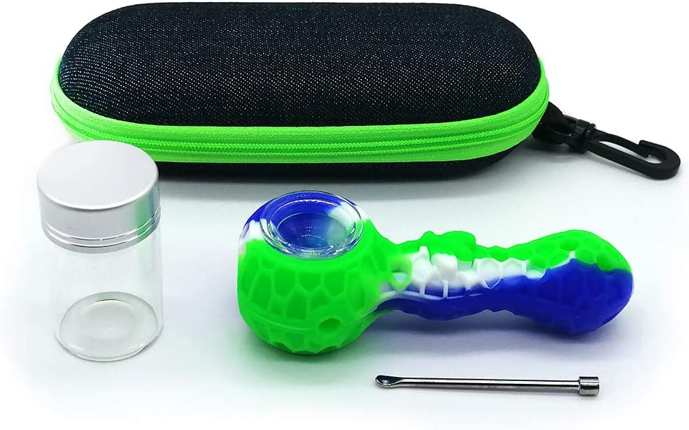 Green-Blue Silicone Honey Nest Straws Travel Kit-with Portable Case and Storage Glass Bottle