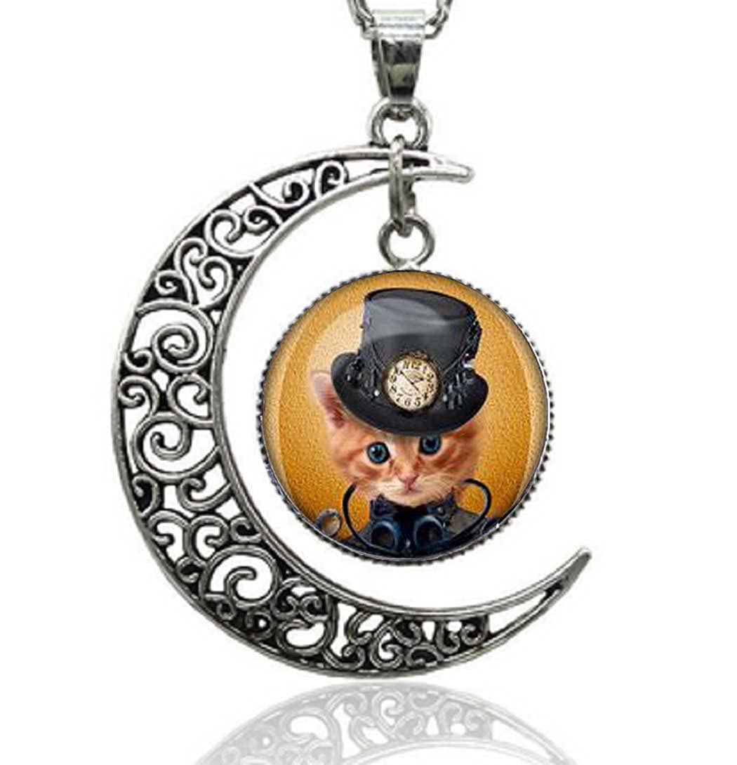 Gemingo New Silver Crescent Cat Choker Necklace Glass-Dome Steam Punk Cat Silver Necklace