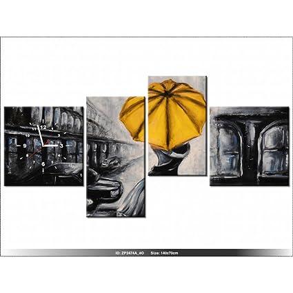 Art-Gallery XXL – 140 x 70 cm – enamorados y paraguas – Reloj de