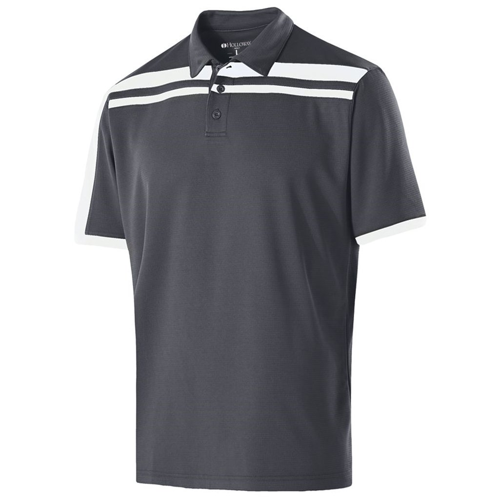 Holloway Dry-Excel Mens Charge Polo (X-Large, Carbon/White) by Holloway