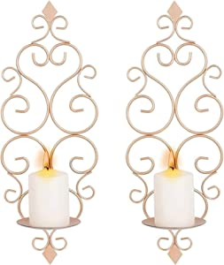 HMMN Mounted Pillar Candle Sconces Holder,Iron Wall Candle Sconce Holder,Wall Sconces Decor for Bedroom Dining Room Living Room Bathroom Set of 2 (Color : Rose Gold)