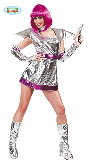 Space Girl Karneval Motto Party Kostum Fur Damen Weltraum All Silber