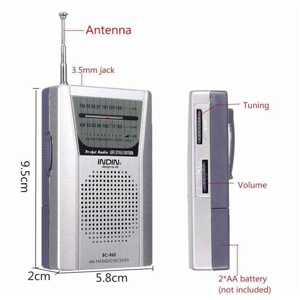 Uzinb BC-R60 Radio de Bolsillo Mini Antena Telesc/ópica Am//FM 2-Receptor Banda de Radio Mundial con 3,5 mm Altavoz Toma de Auriculares