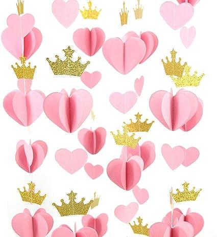 Amazon.com: mybbshower Oro Rosa Corazón 3d corona guirnalda ...
