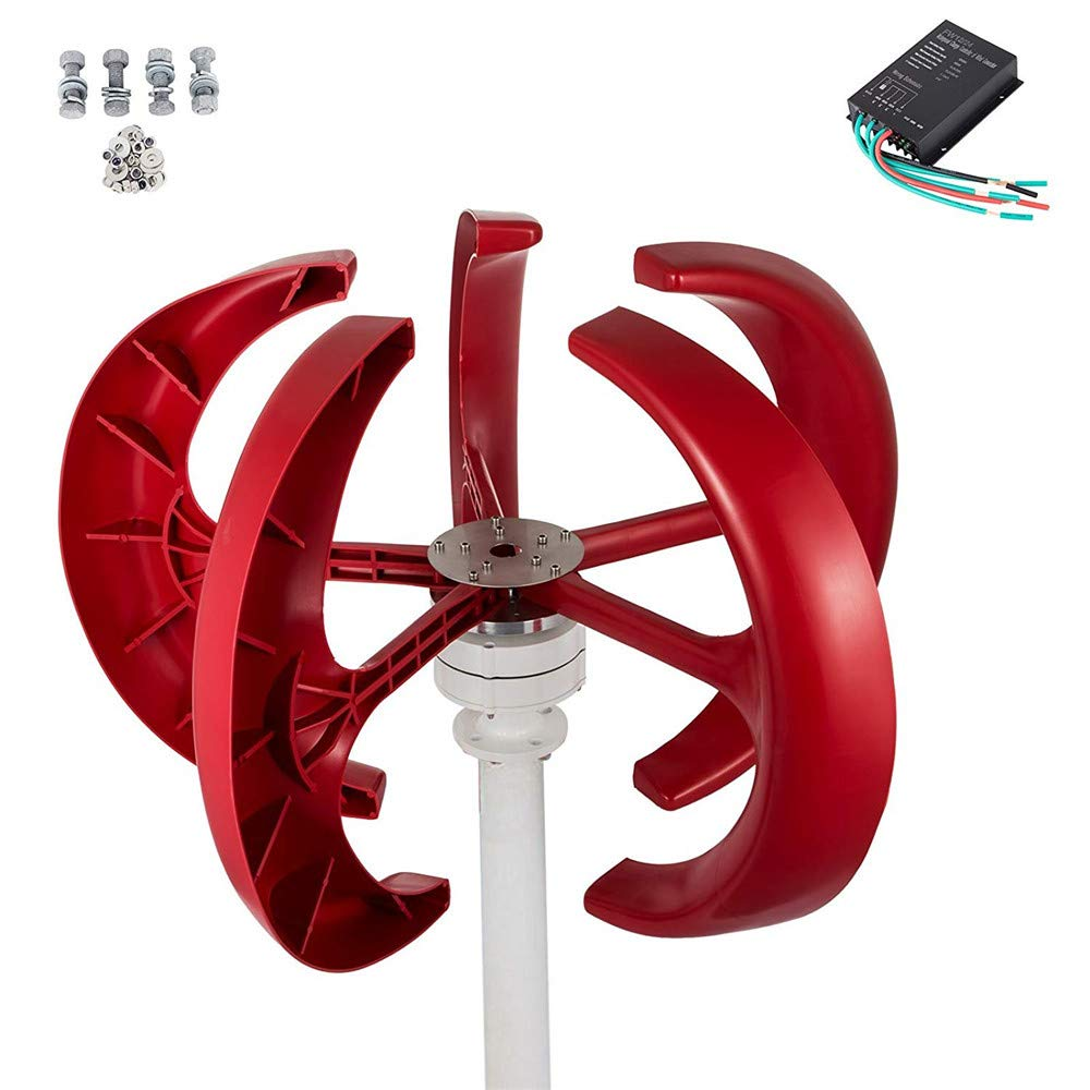 5-leaf high performance wind turbine with controller HUKOER Wind turbine red lantern type 400W 12V wind and solar complementary street light monitoring vertical small Solar & Wind Energy Business, Industry & Science