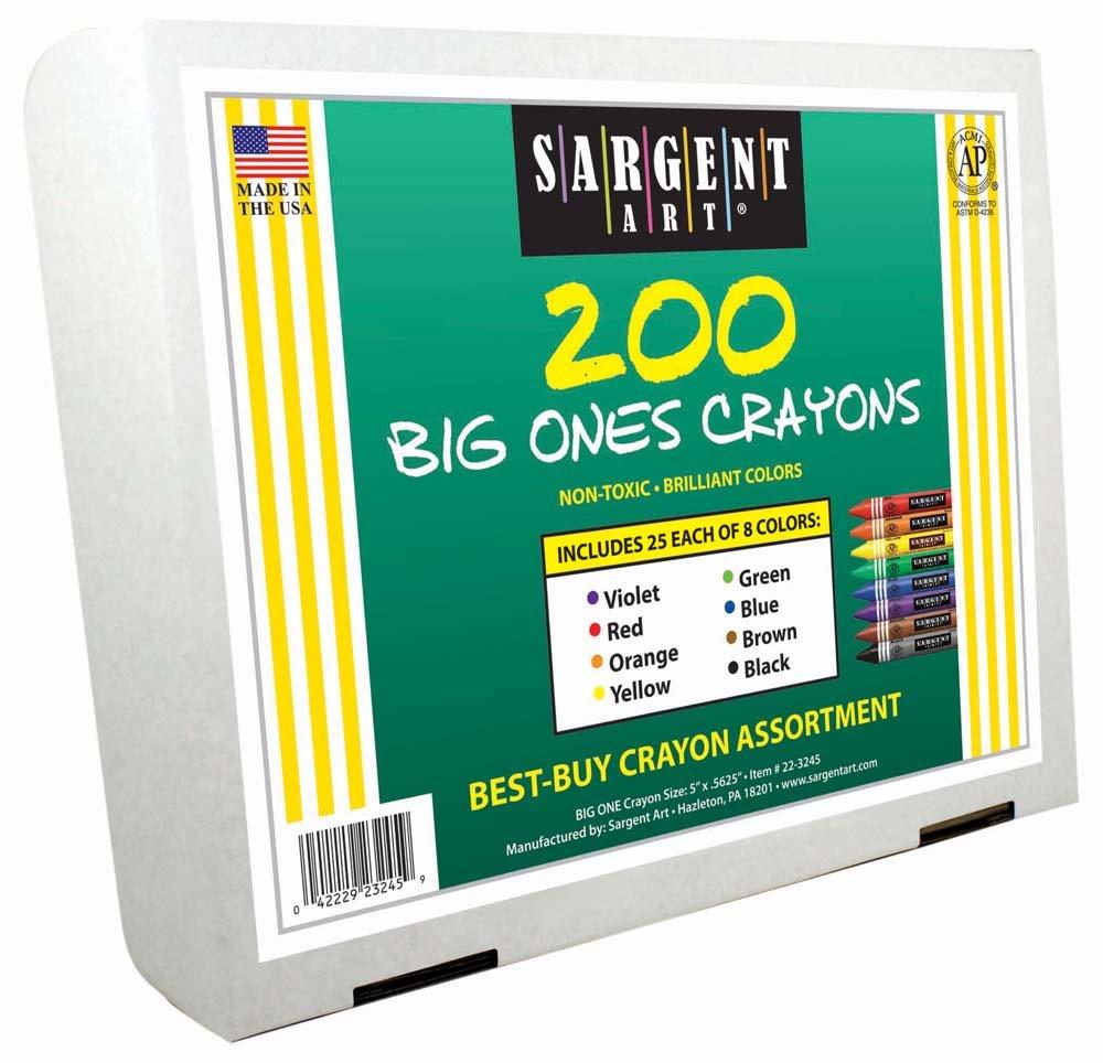 Sargent Art 200-Count Big Ones Crayon Class Pack, Best Buy Assortment, 22-3245