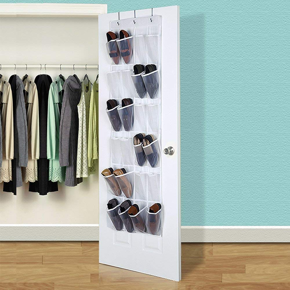 24 Pockets Crystal Clear Hanging Shoe Organizer White 59 L x 18 W 59 L x 18 W White HIPPIH 2 Pack Over The Door Shoe Organizer