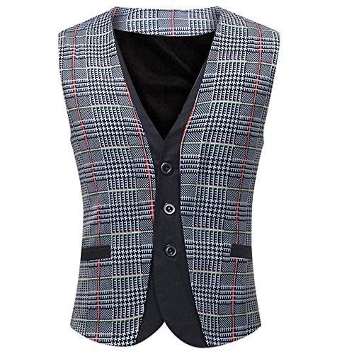 Men Coats Hot WEUIE Men Casual Printed Sleeveless Jacket Coat British Suit Vest Blouse (5XL, Gray) by WEUIE (Image #8)