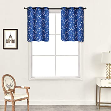 NAPEARL Grommet Top Short Curtain Panel Small Kitchen Window Treatment  American Country Style (Navy Blue, 42\