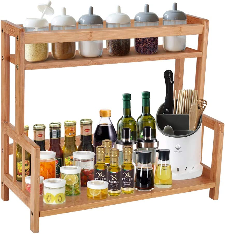 Kitchen Spice Rack Countertop Storage Organizer Shelf 2 Tier Standing Bamboo Spice Holder Jar Bottle Display Shelves,Desktop Bookshelf Book Stand Holder Organizer Rack Wood (Small,Space Saving)