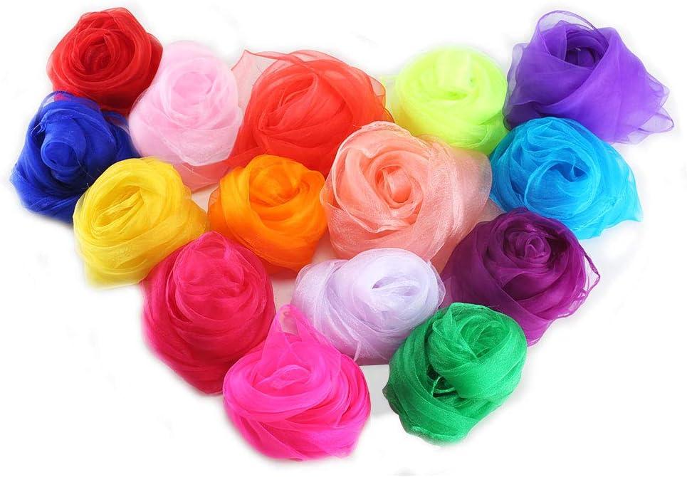 FOGAWA 15pcs Lot pañuelos Colores para niños pequeñas Bufandas ...