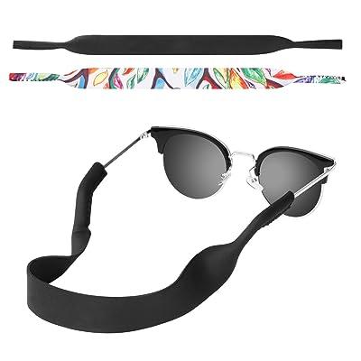 MoKo Néoprène Cordons à Lunettes,  Lot de 2  Universal Porte-lunettes de  Sécurité pour Lunettes de Soleil pour les Enfants, les Hommes, les Femmes -  Noir ... 14781db19ef9