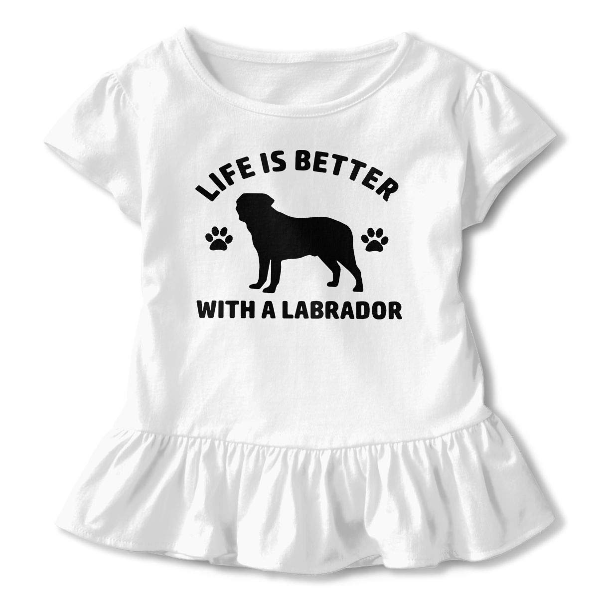 Ruffled Blouse Clothes with Falbala 2-6T PMsunglasses Short Sleeve Life is Better with A Labrador Shirts for Children