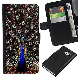 KLONGSHOP // Tirón de la caja Cartera de cuero con ranuras para tarjetas - Plumas del pavo real iridiscente Blue Bird - Samsung Galaxy S6 EDGE //