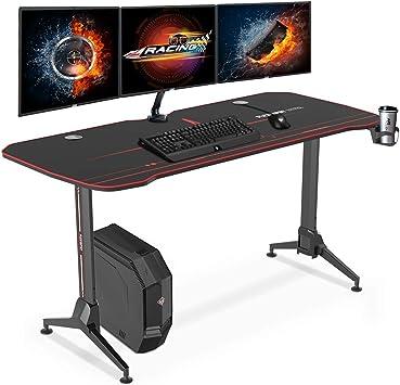 Flexispot Gaming Desk Adjustable Gaming Desk Gaming Computer Desk Gaming Table With Cup Holder Headphone Hook And Cord Management Black 63 Amazon Ca Home Kitchen