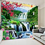 Wapel Custom Curtains 3D Curtains Plum Landscape Waterfall Crane Home Bedroom Decoration Home Decor Decoration 240X320CM