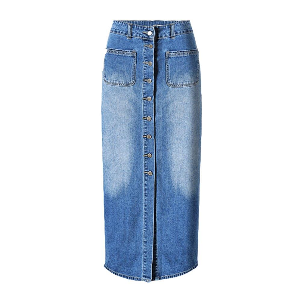 2e413e37d Dreamskull Women's High Waist Button Fly Skinny Denim Long Maxi Skirts:  Amazon.ca: Clothing & Accessories