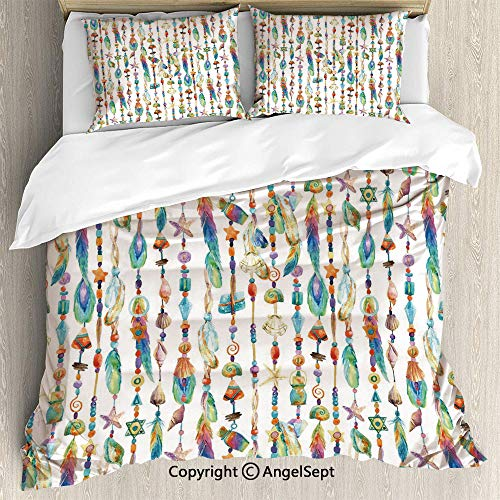 SfeatruAngel Bedding 3-Piece Set Duvet Cover Set,Watercolor Style Figures with Sea Shells Nautical Boho Style Chains Pendant Pattern,Full Size,Soft Microfiber Wrinkle - Luxe Mini Pendant