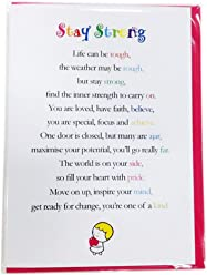 Stay Strong Cute Get Well, Motivational and Encouragement Luxury Greetings Cards by Clarabelle Cards 5 x 7 inches