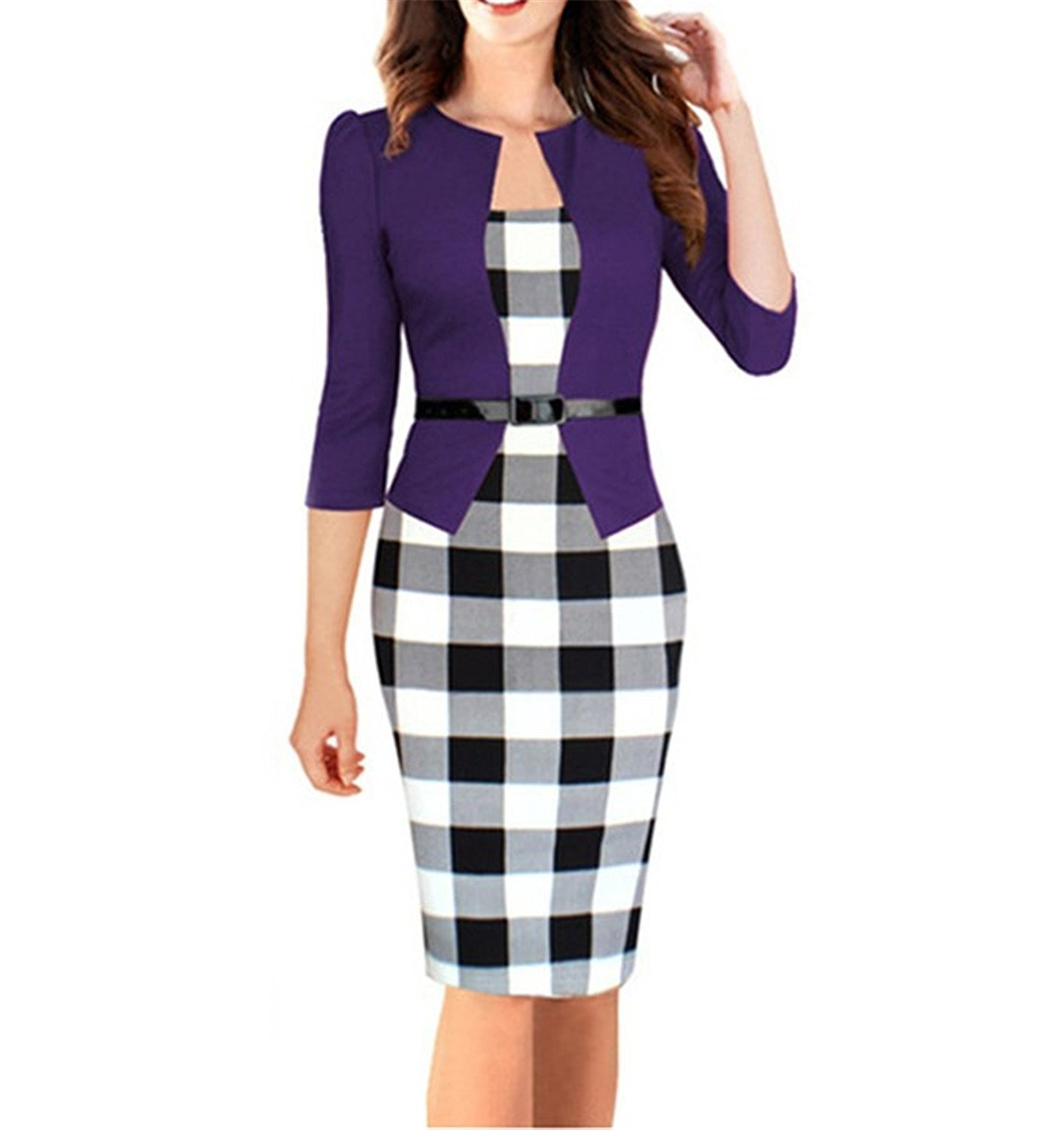 Toping Fine Womens Elegant Three Quarter Sleeve Cotton Blends Patchwork with Sashes Pencil Office Dress Suits PurpleMedium