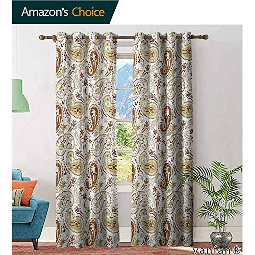 (Big datastore Grommet Top,PaisleyFloral Patterns with Paisley Inspired and Tulips Persian Hippie Art,Living Room Curtain Panels,White Chocolate Umber,W120 xL96)