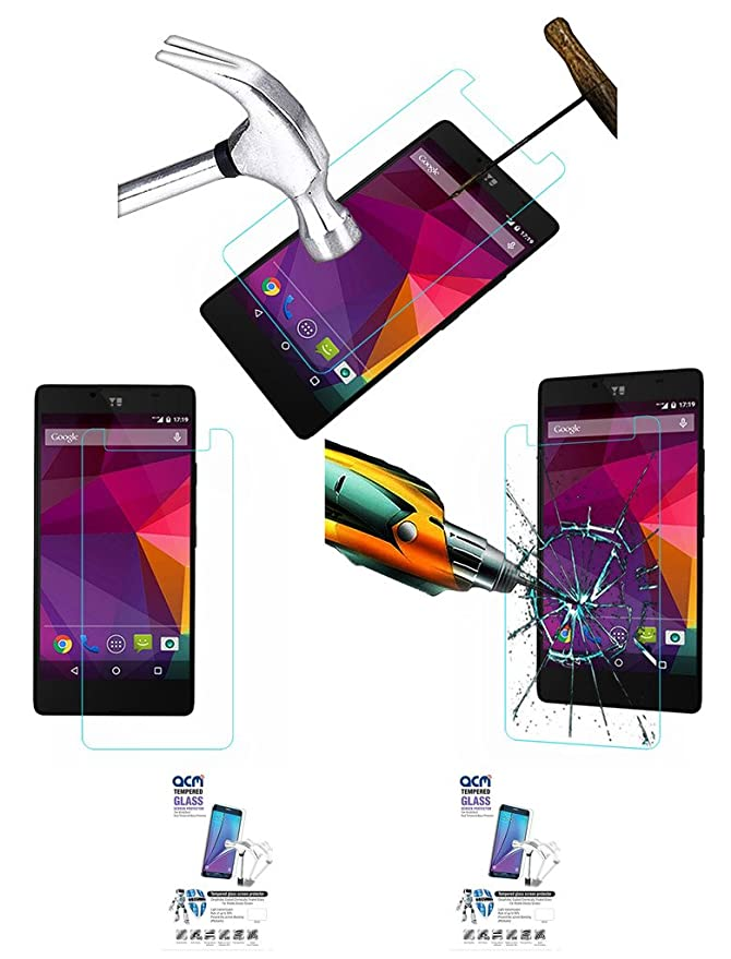 Acm Pack of 2 Tempered Glass Screenguard Compatible with Micromax Yu Yunique Mobile Screen Guard Scratch Protector