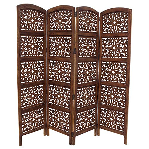 TUP The Urban Port 148948 Handmade Foldable 4-Panel Wooden Partition Screen/Room Divider, Brown (Wooden Dividers Screen)