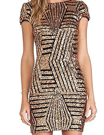 a8d08d1cba7 ELECTROPRIME   AliExpress Sexy Big European and American Gold Sequined  Halter Dress Package Hip Short-Sleeved Dress Women  Amazon.in  Clothing    Accessories