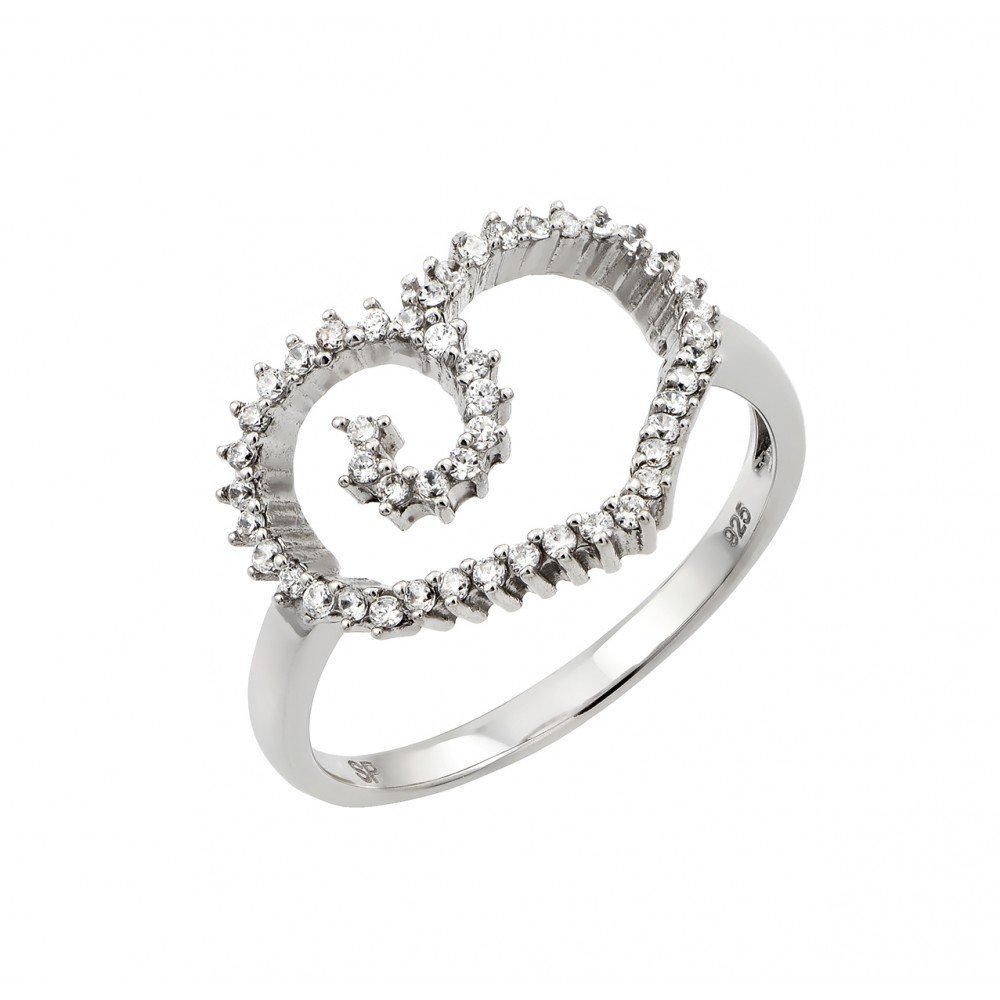 Clear Prong Set Cubic Zirconia Open Heart Designer Ring Rhodium Plated Sterling Silver