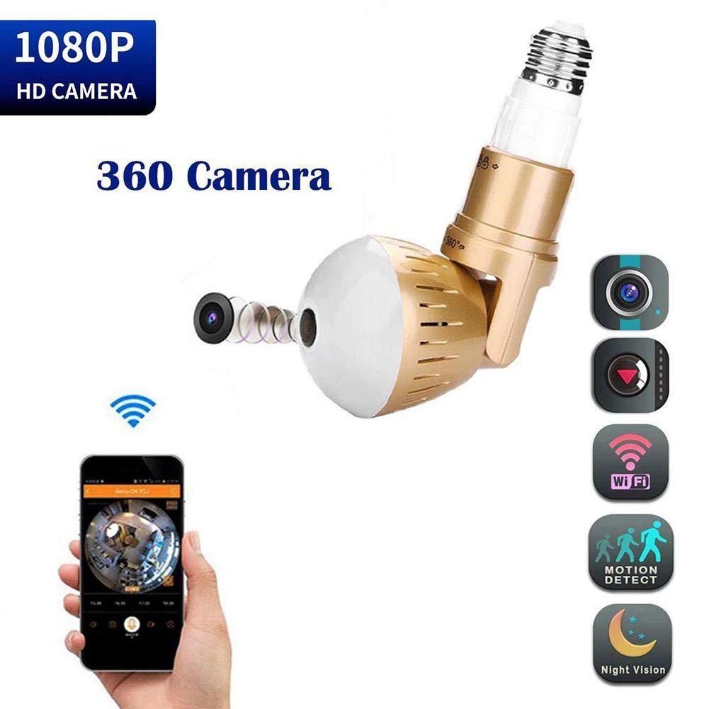 Cámara de Seguridad con lámpara de 360 Grados Cámara inalámbrica de Infrarrojos con luz Blanca 1080p HD Luz Blanca para el hogar en ...