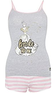 Primark Ladies Girls Womens Disney Glitter Cinderella Princess Bride to Be Wedding Hen Party Cami Shirt