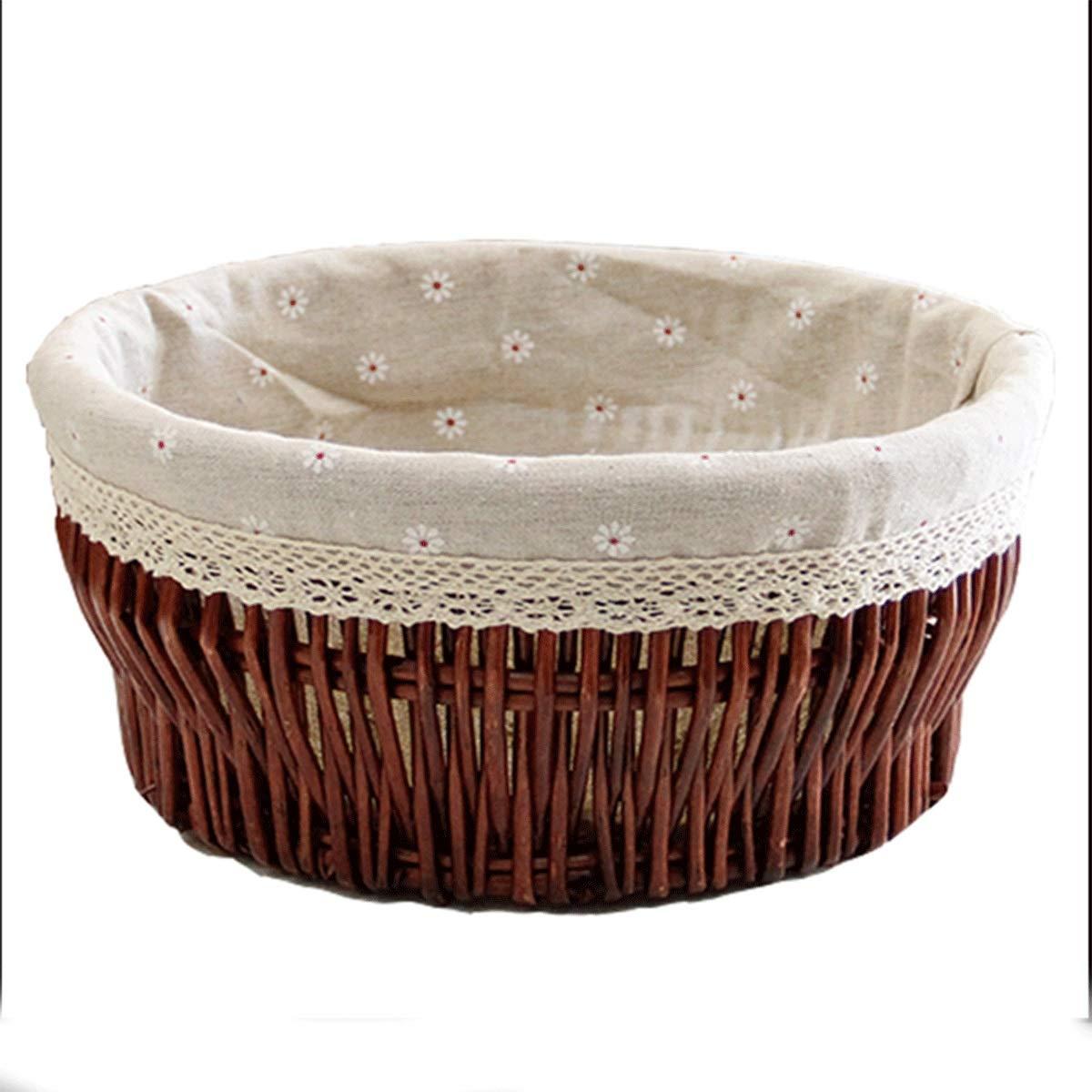 Muziwenju Storage Box, Food Basket, Rattan Cosmetic Box, IKEA Finishing Storage Basket, Tabletop Snack Tea Basket, Round (Size : XXL(4016cm))