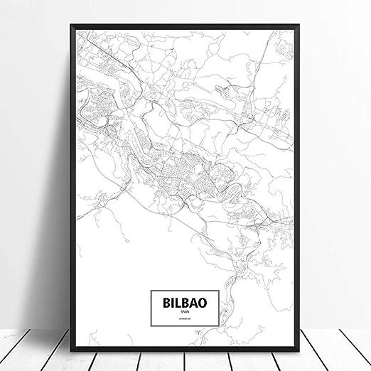 SQSHBBC Bilbao, España Negro Blanco Personalizado Mapa de la Ciudad Mundial Cartel Impresión en Lienzo Estilo nórdico Arte de la Pared Decoración para el hogar Decoración de la pared40X60CM sin Marco: Amazon.es: