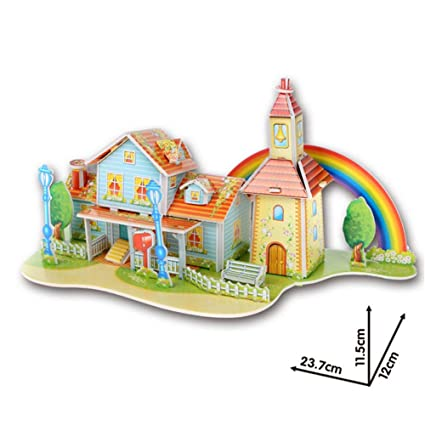 3d Diy Castle Construction Puzzle Children Houses Puzzle Jigsaw Baby Toy Kid Early Learning Pattern Gift Puzzles