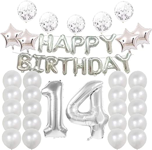 Amazon.com: Globos de 14 cumpleaños para decoración de ...