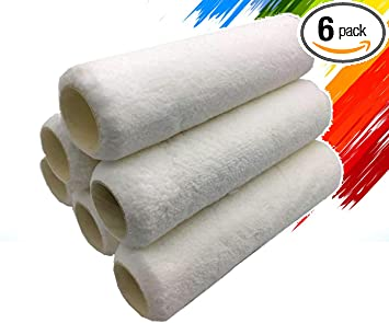 Lint-Free White Microfiber 9 Inch,3//8 Nap,6 Pack Suitable for use with Most Paints PANCLUB Professional Paint Roller Cover Set