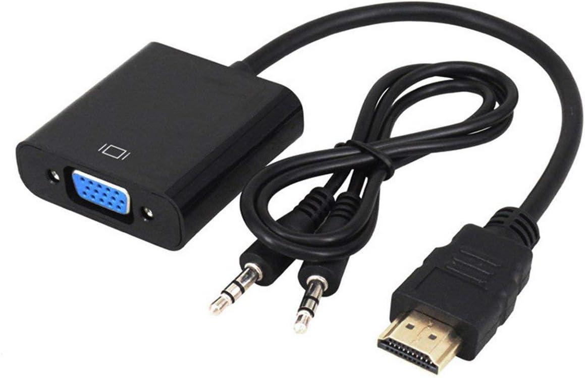 negro 1080P HDMI macho a VGA hembra convertidor de cable de v/ídeo con adaptador de audio EW5 color negro duradero /útil